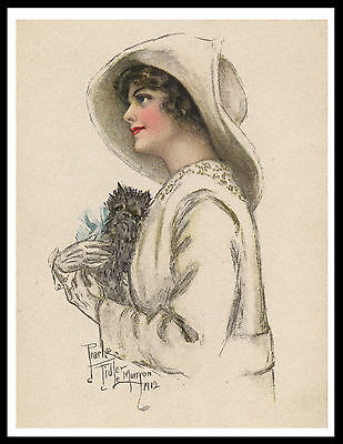 Affenpinscher And Lady Lovely Vintage Style Dog Print Poster