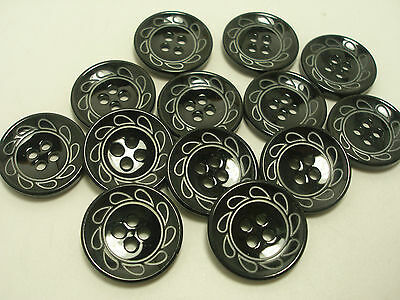 New 8 Black / silver etched design buttons sizes 1 inch,13/16, 5/8- #P14