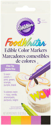 Wilton FoodWriter Edible Color Markers 5 Neon Colors Fine Tip Food Writer