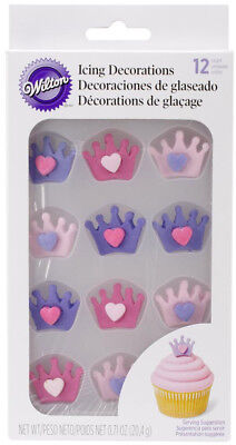 Wilton Royal Icing Decorations Crown w/ Heart 12 ct For Cakes Cupcakes & Treats