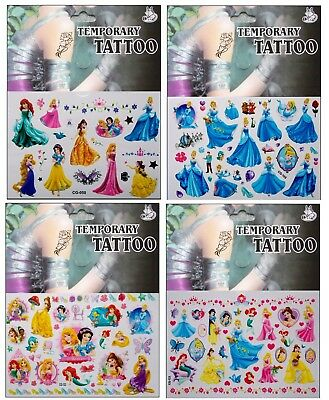 """Disney Princesses Temporary Body Tattoos Stickers - Ariel Snow White Cinderella"