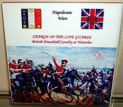 Napoleonic Wars WATERLOO~Charge of the Life Guards~British Cavalry CERAMIC TILE