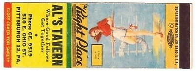 "Al's Tavern, Pittsburgh, Pa ""Ship Ahoy"" Pinup SW Matchbook Cover"