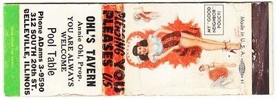 "Ohl's Tavern, Belleville, Ill ""My Good Neighbor Policy"" Pinup SW Matchbook Cover"