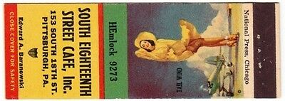 "So. Eighteenth St Cafe ""Tail Wind"" Pinup SW Matchbook Cover"