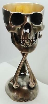 UNIQUE MUSEUM 18th C Georgian Doctor's Memento Mori Skull Silvered Wine Goblet