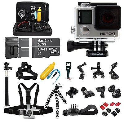 GoPro HERO4 Black Edition +64GB SanDisk +2 Battery +30pcs ALL you need Pro Kit!