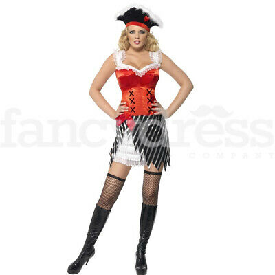Pirate Shipmate Ladies Costume Caribbean Lady Fancy Dress Outfit Womens Wench