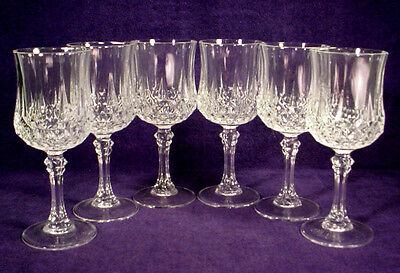 "6 MINT Cristal D'Arques LONGCHAMP Lead Crystal WATER 7-1/4"" WINE Goblets LOT Set"
