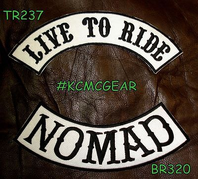 LIVE TO RIDE NOMAD Black on White Back Military Patches Set Biker Vest