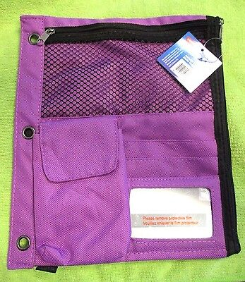 STAPLES #24219 Durable 3 Ring - Full Binder Purple Pencil Pouch
