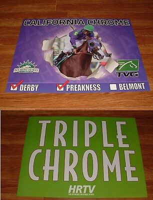 CALIFORNIA CHROME 2014 KENTUCKY DERBY PREAKNESS BELMONT STAKES POSTERS LOT of 2