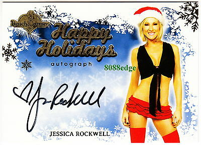 2013 Benchwarmer Holiday Auto: Jessica Rockwell - Autograph Blue Background Sexy