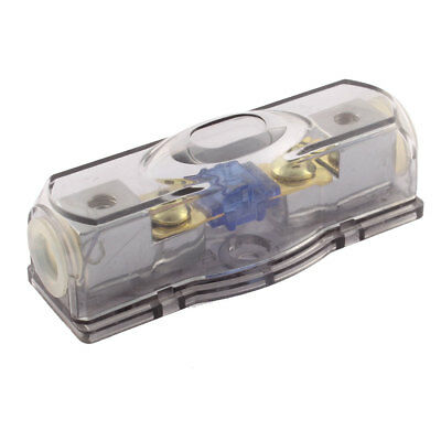 Clear Gray Plastic Shell Car Stereo Audio Wire Inline AGU Fuse Holder Block 60A