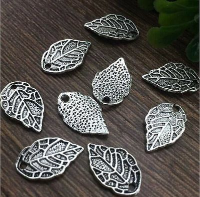 Wholesale 20pcs10x16mm Tibet silver Leaves Charm Pendant beaded Jewelry Findings