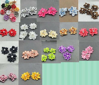 10/50/100pcs Satin Ribbon mix Flower with Crystal Bead Appliques U PICK!