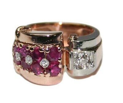 14k Rose Gold Transitional Art Deco Ruby and Diamond Ring - Size 6