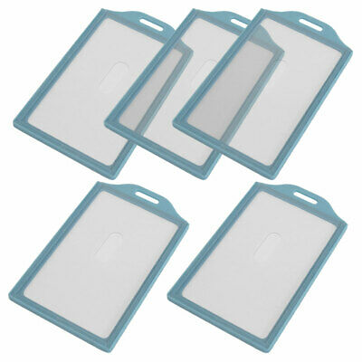Plastic Vertical Business ID Badge Card Holder Light Blue Clear 5 Pcs
