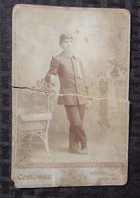 """late 19th century Federal Soldier """"Indian Wars"""" Cabinet card Photo 4.5x6.5 Poor"""