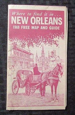 1969 NEW ORLEANS Map & Transit Guide VG+ Fold-Out Map