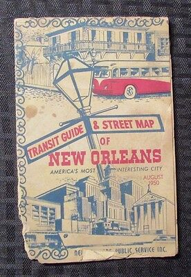 1950 Transit Guide & Street Map of NEW ORLEANS Fold-Out Map G/VG