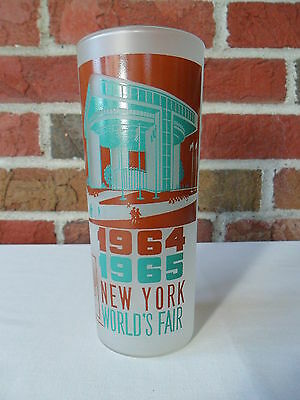 1964-65 New York World's Fair Glass Frosted Tumbler - Port Authority Building