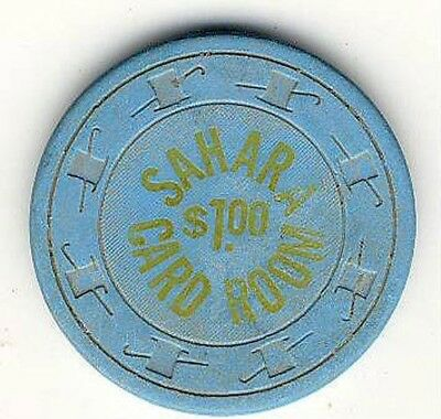 1 Sahara Casino Card Room  $1 Clay Poker Chip Las Vegas Nv Free Shipping *