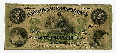1863 $2 The Farmers & Merchants Bank of Cecil County - MARYLAND Note
