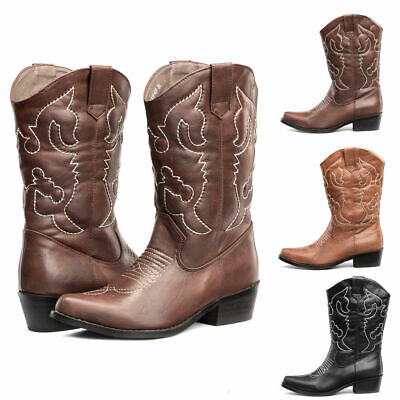 AU FREE SHIP SheSole Womens Cowboy Boots Western Heel Mid Calf Wedding Casual