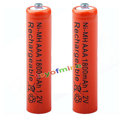 2x AAA 1800mAh pile 1.2V Ni-MH rechargeable batterie 3A Rouge pour MP3 Jouet RC