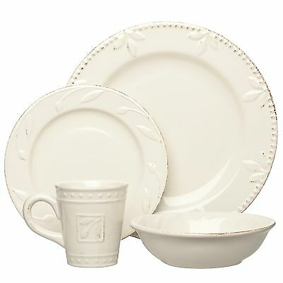 16 Piece Sorrento Dinnerware Set in Ivory by Signature Housewares