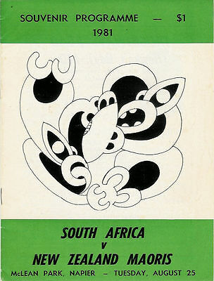 SOUTH AFRICA 1981 RUGBY TOUR PROGRAMME v NEW ZEALAND MAORIS 25 Aug at Napier