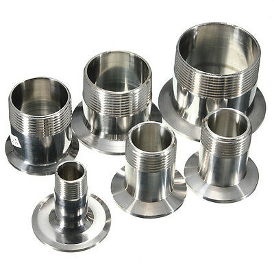 """1/2"""" to 2"""" Sanitary Male Threaded Ferrule Pipe Fitting Tri Clamp Type SS316 New"""