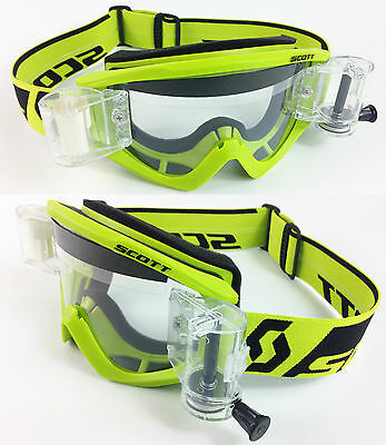 2016 SCOTT RECOIL XI MOTOCROSS MX GOGGLES FLOU GREEN with GSVS ROLL-OFF SYSTEM