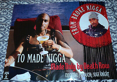 2pac poster  FROM BROKE TO RICH   TUPAC Makaveli Original print DEATH ROW RECORD