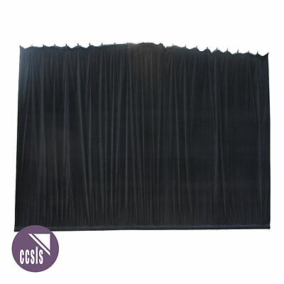 Bravo 6M X 4M Black Cotton Velvet Stage Curtain - Gathered _ 64A