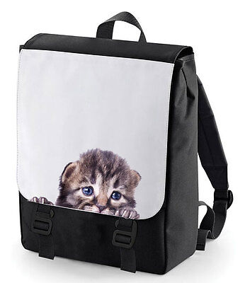 Peeking Kitten Cute Backpack Bag Cool Fun Bag Perfect For School Bagbase Cat