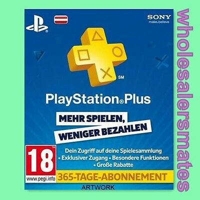 PS+ 365 Tage Karte PlayStation Live Plus 1 Jahr Card Code - PSN PS3 PS4 AT