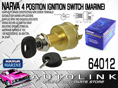 NARVA 4 POSITION IGNITION SWITCH (MARINE) 21mm DIA MOUNTING WITH 2x KEYS