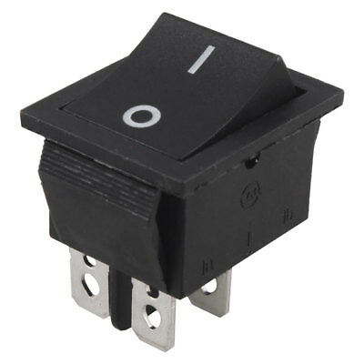 AC 250V 15A 4 Pin Double Poles DPST ON/OFF 2 Position Boat Rocker Switch Black