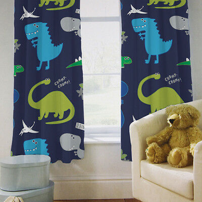 "Children's Bedroom Curtains Dinosaurs Blue Boys 66"" by 72"" with Tiebacks Baby"