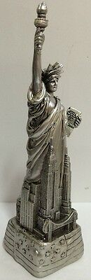 "LARGE 12"" Silver Statue of Liberty Figurine w.Flag Base and NYC SKYLine from NYC"