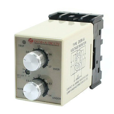 DVM-A/12V DC 12V Adjustable Over/Under Voltage Protection Monitoring Relay