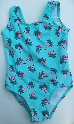 Baby Girls Blue Swimming Costume with Palm Tree detail