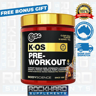 Bodyscience K-OS Pre Work Out 180g 30 Serves Gold Label Alpha BSC Kos Preworkout