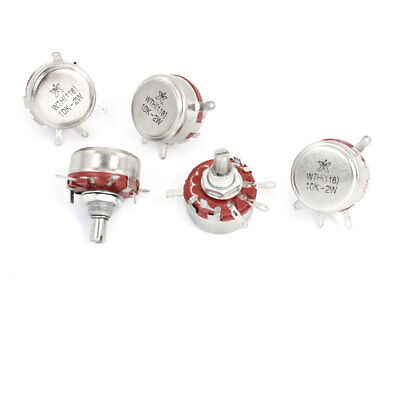 5 Pieces 10K ohm 2W Single Turn Carbon Composition Rotary Potentiometer WTH118