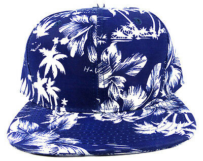 35ca282beeb Blue White Silhouette Floral Snapback Hat Cap All Over Hawaiian Print Flower  Nwt