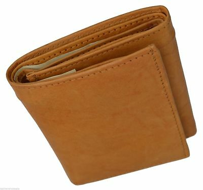 Tan RFID Blocking Mens Genuine Leather Trifold Wallet ID Card Center Flap Holder