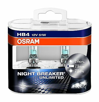 2 x Bombillas Osram Night Breaker Unlimited HB4 Faros Halogeno Lamparas Coche