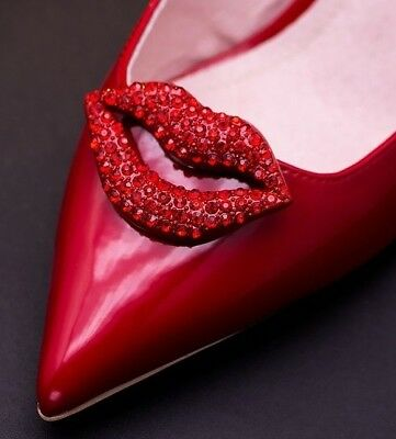 Sexy Red Rhinestone Crystal Mouth Sparkle Party Shoe Clips Pair